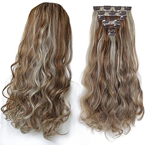 SYXLCYGG Hair Extensions Blonde ,Clip In Hair Extension 18' Wavy...