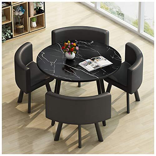 モダンなデザインのダイニングテーブルと椅子の組み合わせ北欧のミニマリストスタイルの大理石のテクスチャデスクトップホームリビングルーム研究アパートバルコニーネゴシエーション80 Cm 4人に適した小さな丸テー
