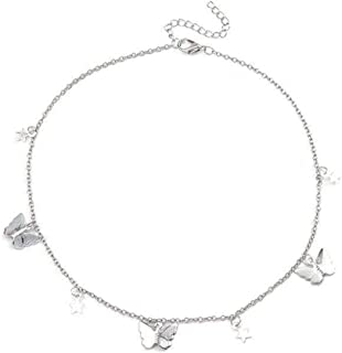 Epinki Silver Plated Bohemia Necklace Handmade Pearl Beads Long Chain Necklace for Women and Girls