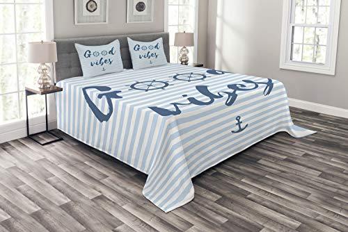 ABAKUHAUS Good Vibes Tagesdecke Set, Nautical Maritime, Set mit Kissenbezügen luftdurchlässig, für Doppelbetten 264 x 220 cm, Nachtblau Babyblau