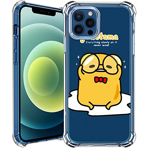 MAYCARI Cute Gudetama Case Clear for for iPhone 12 Pro 6.1 Inch, Cartoon Animal Pattern Transparent Shockproof Anti-Scratch Soft TPU Cover with Air Cushion for Men&Women