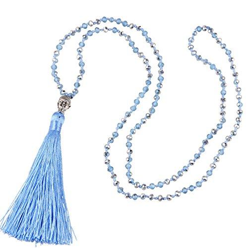 C·QUAN CHI Mehrfarbige Perlenkette Zierliche handgemachte Lange Quaste Buddha Anhänger Halskette Böhmische Frauen Statement Schmuck Geschenke für Frau Mädchen Beste Freunde