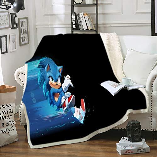 Goplnma - Manta Sonic The Hedgehog, manta de franela Sonic & Tails, manta de dibujos animados, para niños y adultos, impresión 3D (100 x 140,10)