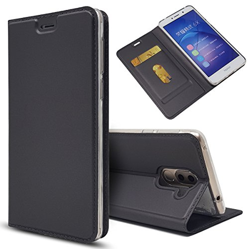 Copmob Huawei Honor 6X Hülle, Premium PU Leder Handyhülle [Ultra Slim] Brieftasche-Stil Magnetisch Flip Klapphülle [Transparenter TPU Stoßfänger] [Karte Halterung] Schutzhülle - Schwarz