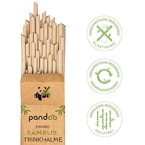 pandoo 50 Plastikfreie Einweg-Strohhalme aus Bambus und Pflanzenfasern | 100% biologisch abbaubar | Kompostierbare Trinkhalme | Super Alternative zu Plastik Strohhalmen