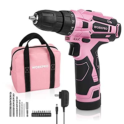 """WORKPRO Pink Cordless Drill Driver Set, 12V Electric Screwdriver Driver Tool Kit for Women, 3/8"""" Keyless Chuck, Charger and Storage Bag Included"""
