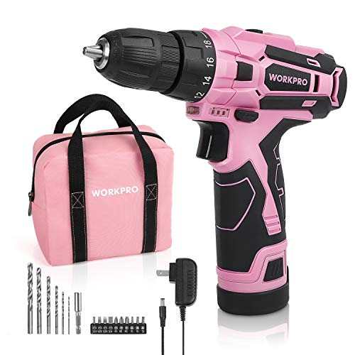 "WORKPRO Pink Cordless Drill Driver Set, 12V Electric Screwdriver Driver Tool Kit for Women, 3/8"" Keyless Chuck, Charger and Storage Bag Included"