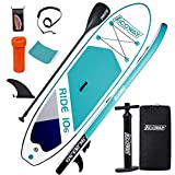 ACOWAY Inflatable Stand Up Paddle Board, 10'6×32'×6' Paddle Board, SUP Paddleboard Accessories Backpack, Bottom Fin Paddling Surf Control, Non-Slip Deck, Youth & Adult Stand up Paddle Board,Green