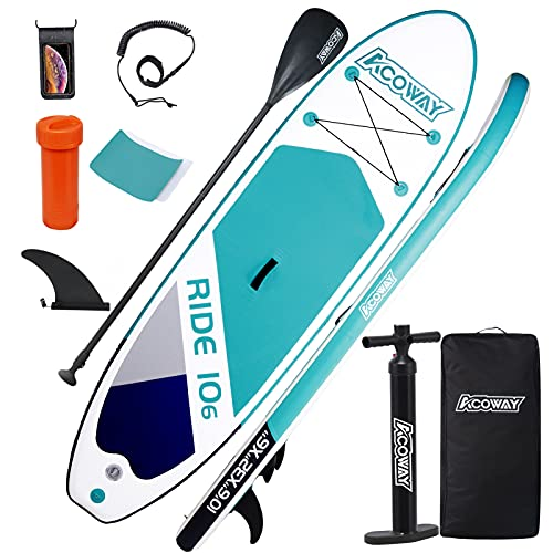 ACOWAY Inflatable Stand Up Paddle Board,10'6×32'×6' Paddle Board, SUP Paddleboard Accessories...