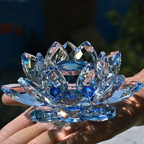 Bouquet de fleurs de lotus en cristal - Grande taille - Artisanat - Décoration pour la maison - De toutes les couleurs - Cadeau pour un anniversaire, un mariage, Verre cristal, bleu