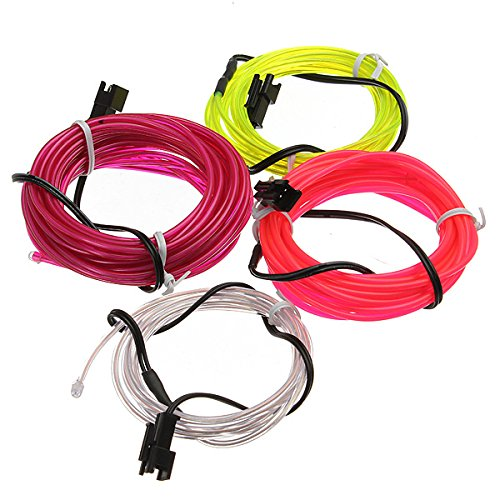 MASUNN 2 M Neon Light Lueur El Wire Cable Voiture + Chargeur De Voiture Driver-Blanc