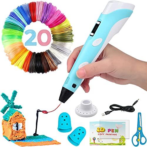 Bolígrafo 3D inteligente con pantalla LED, bolígrafo de impresión 3D con carga USB, recargas de filamento PLA de 20 colores, PLA y ABS compatibles, regalo de manualidades perfecto para niños y adultos