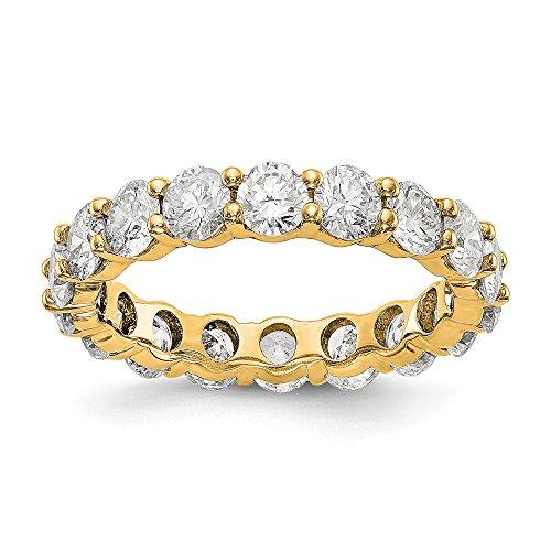 Alianza de boda de oro amarillo pulido de 14 quilates con diamante de 4 quilates para mujer