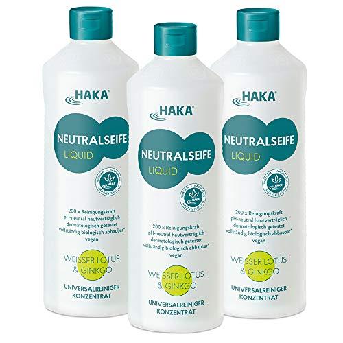 HAKA Neutralseife Flüssig Lotus & Ginkgo I 3x1 Liter Neutralreiniger I Universalreiniger für Haushalt und Auto I PH-neutrales Reinigungsmittel I Biologisch abbaubar