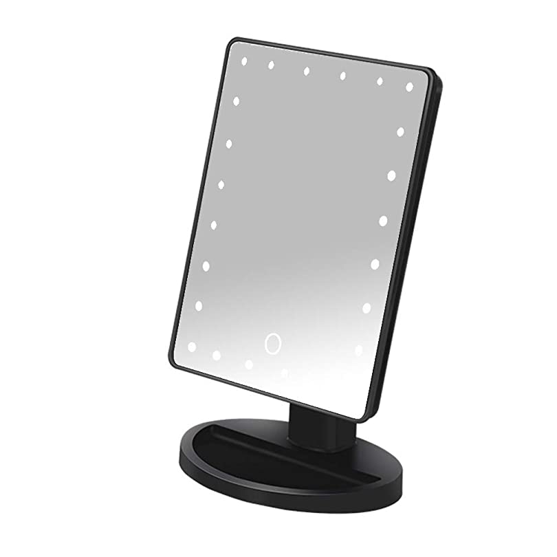 解体するの量区別ライト付き化粧鏡/ 24 LEDライト付き化粧鏡/化粧鏡/大型タッチスクリーン/ 180度回転,黒,USEbattery