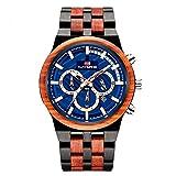 RORIOS Moda Reloj de Madera ecológico Reloj Luminoso Reloj Analógico Cuarzo Reloj Men Watch con Calendario Multifunción Relojes