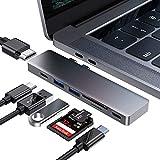 FLYLAND Hub C USB, Adaptateur C USB 7 en 1, avec USB 4K C à HDMI, 100 W de Puissance, 2 Ports USB 3.0, Lecteur de Carte TF/SD,1 Port de Type C, pour MacBook Pro 2016/2017/2018 et Plus Appareils