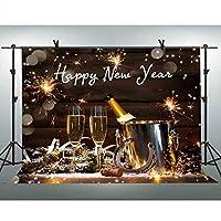 FLASIY 10x7フィート Happy New Year 背景幕 シャンパン 花火 写真 背景 イベント パーティー 装飾 スタジオ 写真 背景 小道具 GEAY685