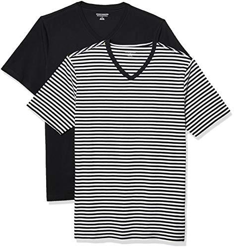 Amazon Essentials 2-Pack Slim-Fit V-Neck T-Shirt Camiseta, Negro Blanco Raya/Negro, M, Pack de 2
