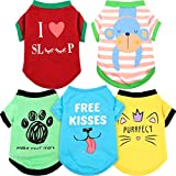 5 Pieces Printed Puppy Dog Shirts Pet Shirt Soft Breathable Pet T-Shirt Printed Pet Clothing for Dogs and Cats (Footprint, Monkey, Words, Medium)