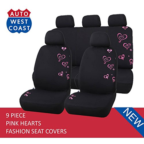 West Coast Auto Car Seat Covers Set for Cars, Trucks, Vans, SUV - Airbag Compatible (Polycloth) (Pink Hearts)