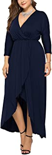 Women's Plus Size Wrap Dress Sexy V Neck 3/4 Sleeve Empire Waist Maxi Ruffle Flowy Hem Dresses 3X-Large Blue