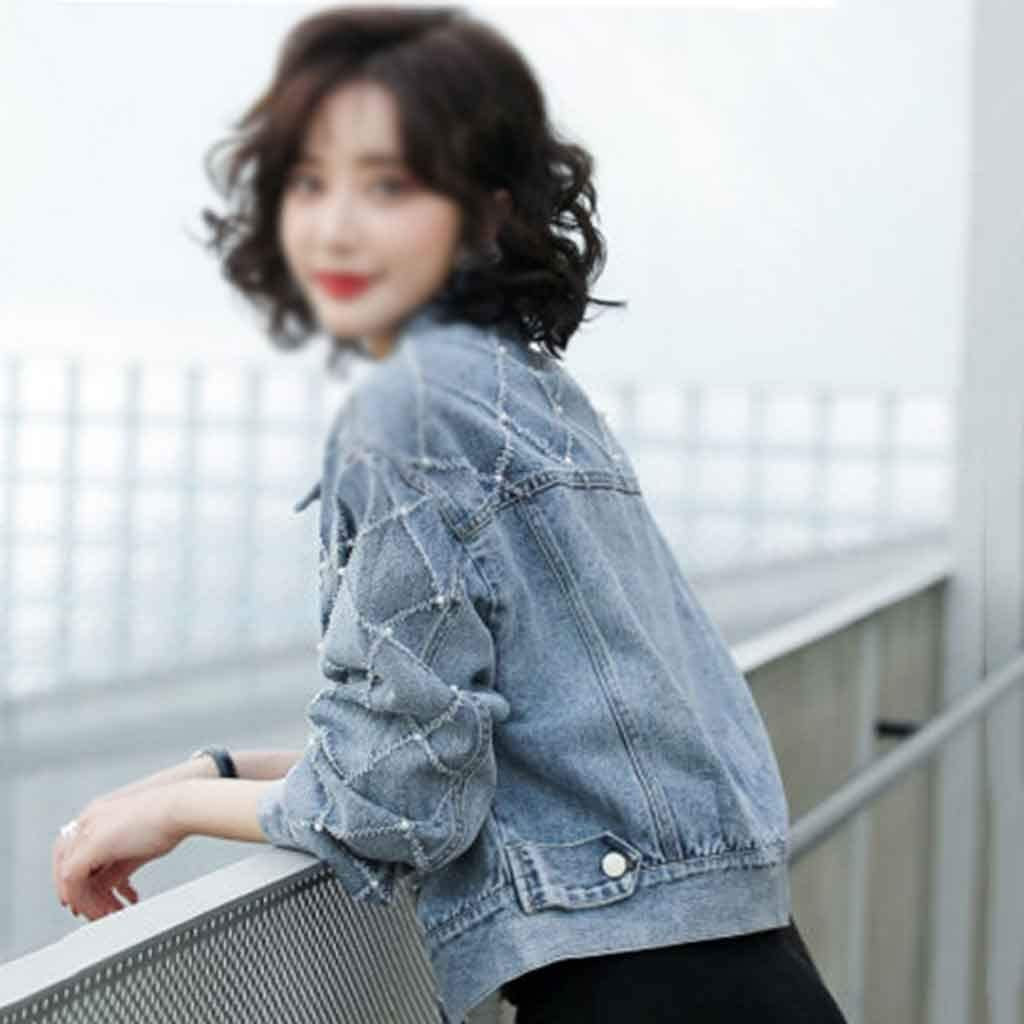 PDGJG Women's Short Spring and Autumn New Denim Jacket Korean Style Loose Fashion Jacket Top (Size : Medium Size)