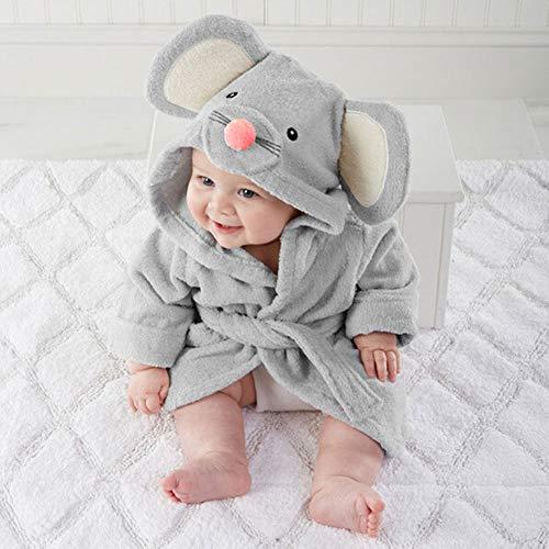 Maus mit Kapuze Baby Handtuch, natürliche Baumwolle + Polyester, Cartoon Baby Kleinkind mit Kapuze Badetuch Decke, Bademantel wickeln, kleine Größe(sGrau)