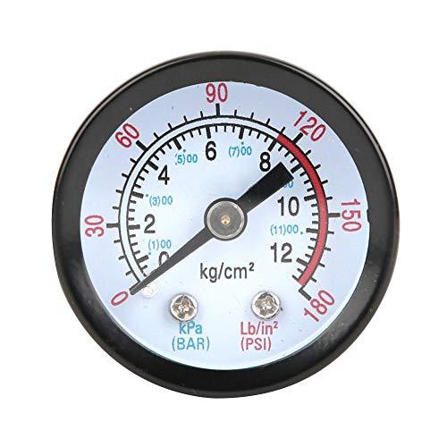 Ccylez Luftkompressor Manometer, Druckluft Manometer 0~180 PSI, 0~12 Bar, Pressure Gauge Messgerät 42 mm Durchmesser für Schraubenkompressoren, Kolbenkompressoren