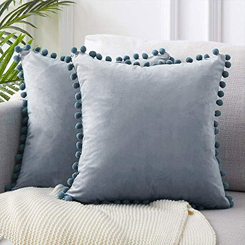 N/L Velvet Cushion Covers Soft Square Decorative Plain Pillow Case Throw Pillowcases for Living Room, Sofa, Bedroom, Office, Car Pillowcase with Tassels 45cmx45cm (blue grey,45cm*45cm)