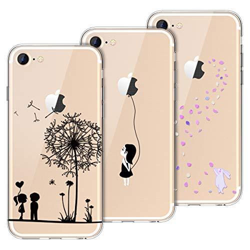 Yokata Kompatibel mit iPhone 7 Hülle iPhone 8 Hülle Silikon Transparent Durchsichtig Handyhülle Schutzhülle TPU Ultra Dünn Slim Kratzfest mit Motiv Muster [3 Pack] - Löwenzahn + Weißer Hase + Mädchen