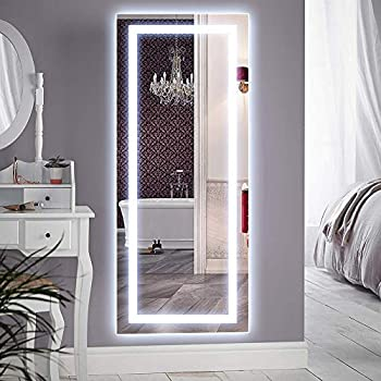 QiMH Vertical 47x22 Inch Wall Mounted LED Lighted Vanity Mirror with Aluminum Frame Backlit Bedroom and Bathroom Hanging Rectangle Whole Body Mirror