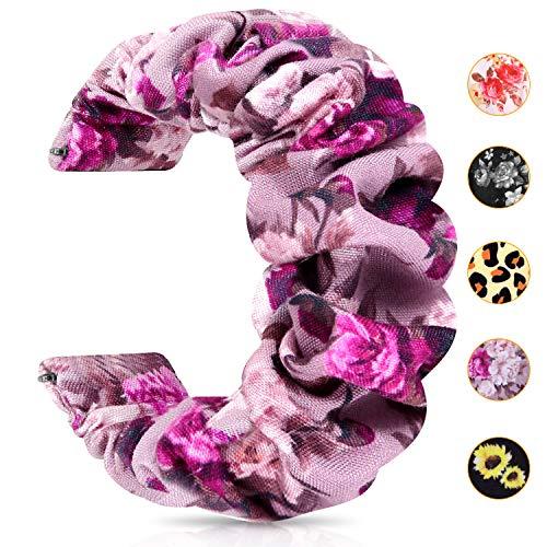 JIELIELE 20mm 22mm Watch Band, Fabric Elastic Scrunchies Women Watch Bands Quick Release Pattern Cute Replacement Band for Women (PurpleFlower)