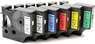 KATRIZ Reemplazo para Dymo 40913 40916 40917 40918 40919 Cinta de Etiquetas Compatible para Dymo LabelManager 160 280 LabelWriter 450 Duo (2 * Negro sobre Blanco/Azul/Rojo/Amarillo/Verde)