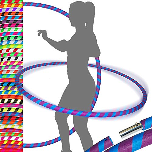 PRO Hula Hoops Reifen für Anfänger und Profis (Ultra-Grip) Faltbarer TRAVEL Hula Hoop ideal für Hoop Dance, Fitness Training, Zirkus, Festivals & Fun! - Größe 100cm/25mm∅, Gewicht 650g (Blau / Lila)
