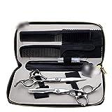 YHtech Profesional Tijeras de peluquería, 6 Pulgadas de Pantalla Plana + Diente de Tijeras de peluquería Tijeras Set (Color: Plata)