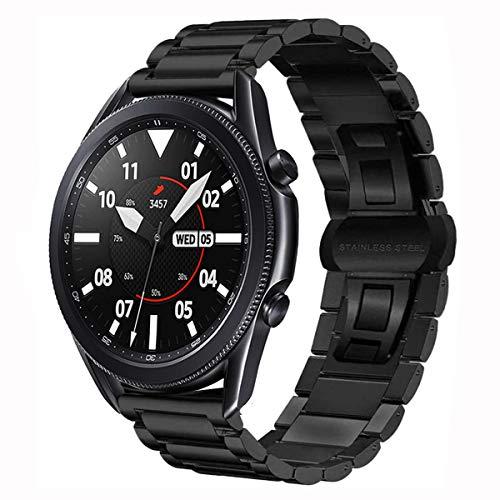 MroTech Pulsera compatible con Samsung Galaxy Watch 3 45 mm/Galaxy Watch 46 mm/Gear S3 Frontier correa de repuesto para GTR 47 mm/GT 2 46 mm correa de metal de acero inoxidable 22 mm, mariposa negra