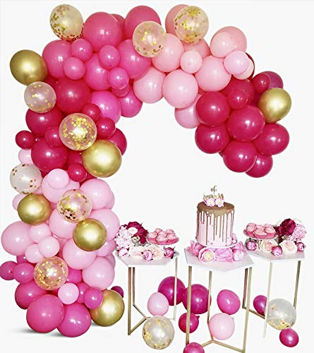 Pink Balloon Garland Kit - DIY, 126 Piece + 10 Free Balloons, Assorted Colors, Pink, Hot Pink, Fuchsia, Gold Metallic, Gold Confetti, Perfect for Event Decorations, Wedding, Birthday, and many more.
