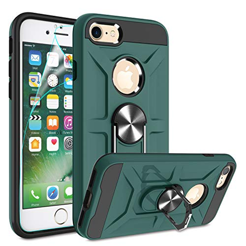 iPhone 7 Case, iPhone 8 Case with HD Screen Protector, Atump 360° Rotation Ring Holder Kickstand [Work with Magnetic Car Mount] PC+ TPU Phone Case for Apple iPhone 8, Midnight Green