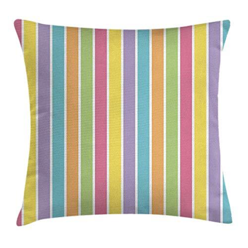 Kissenbezug mit abstraktem Dekor, vertikal gefüttert, bunte Pastelltöne, weich, modern, kunstvoller Retro-Druck, 45,7 x 45,7 cm, mehrfarbig