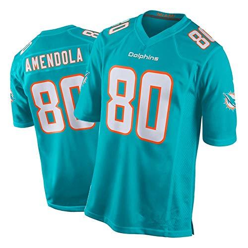 NCGD Rugby Trikot Dolphins 80# Amendola, Herren American Football Training T-Shirt, schnelltrocknend, atmungsaktiv, Youth 8-20 Game Jersey Gr. L, farbe