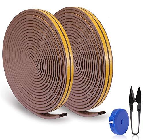 RATEL Tira de Sellado Junta de 30 m(4 x 7.5 m), Goma burlete para Puerta Ventana colisiones Resistente al Agua Autoadhesiva con 1 tijera y 1 cinta métrica para bloquear grietas y huecos (marrón)