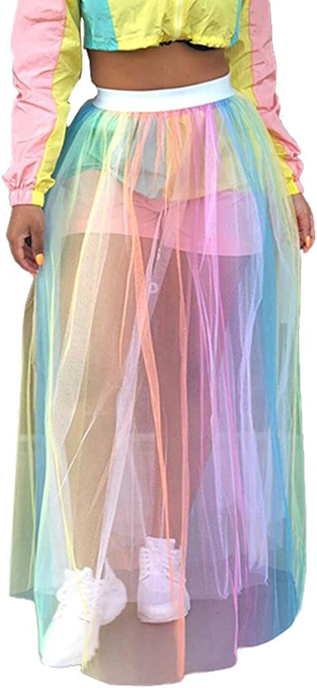 DeviFish Womens Rainbow Mesh See Through Self Tie Crop Top Long Skirt Cover Ups
