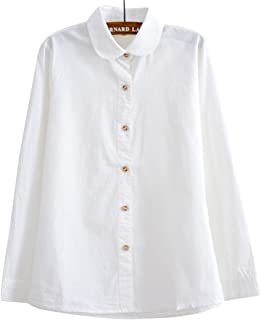 (ボラ-キキ) Bole-kk ブラウス シャツ レディース 長袖 オフィス ワイシャツ きれいめ 襟付き 事務服 お出かけ 通勤 通学 白 ホワイト