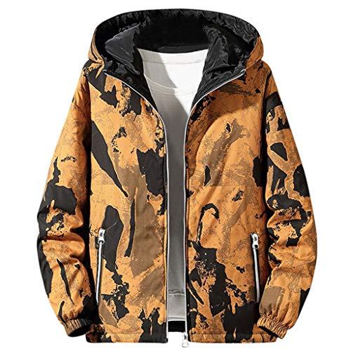 MAYOGO Herrenjacke Wendejacke Herren Camouflage Softshell Jacke Herren Winter Steppjacke Daunen Jacke Winterjacke mit Kapuze Große Größen (Gelb, 7XL)