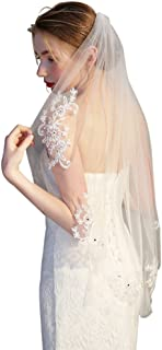 Frcolor Elegent Lace Appliques Wedding Veil Crystal Beaded with Comb, Beige