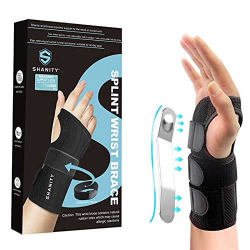 Shanity Carpal Tunnel Wrist Brace for Night Support, Removable Metal Wrist Splint, Three Adjustable Compression Straps, Wrist Support for Men, Women, Tendonitis, Hand Brace for Pain Relief-Right