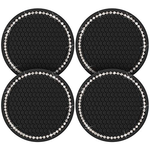 4 Pieces Silicone Crystal Car Coasters Vehicle Bling Cup Holders Crystal Cup Holder Insert Coasters in Black for Women Car Interior Accessory Decoration, 2.75 Inches