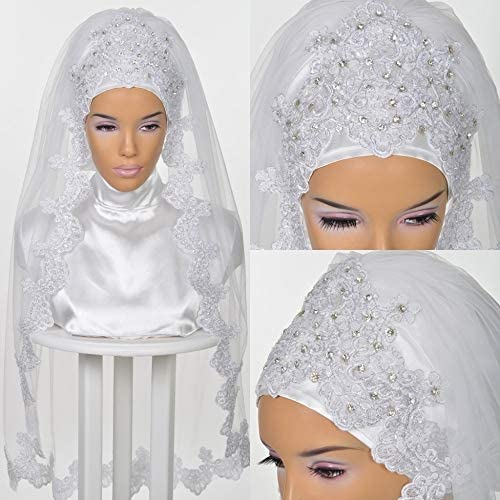WXX Muslim Wedding Veils for Brides 2019 Bridal Hijab Beading Crystals Lace Appliques Edge Elbow product image