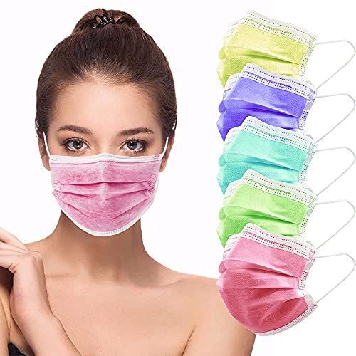 face mask for women HIWUP Disposable Face Masks 3 Layer Multicolored Face Mask For Women & Men Suitable For Adults And Teenagers Pack of 50
